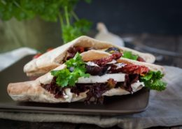 Kebab with sheep's cheese, aubergine and sundried tomatoes