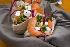 Mediterranean pita with carrots and Feta cheese