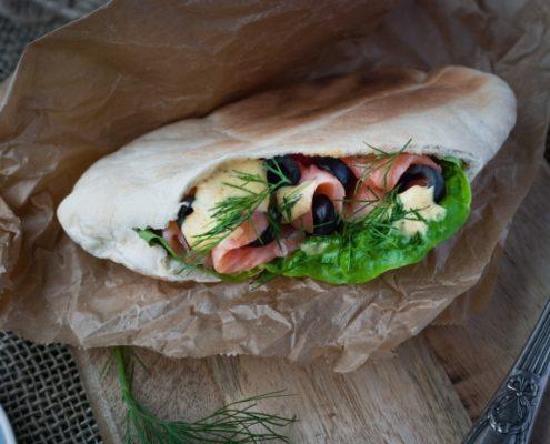 Smoked salmon, olives and honey-mustard sauce kebab