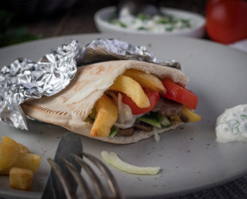Greek pita with gyros meat and French fries